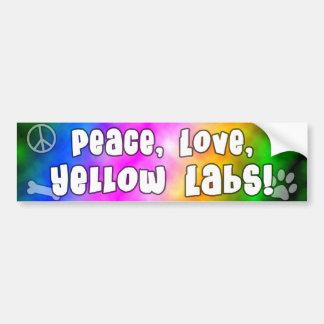 Peace Love Yellow Labs Bumper Sticker Car Bumper Sticker