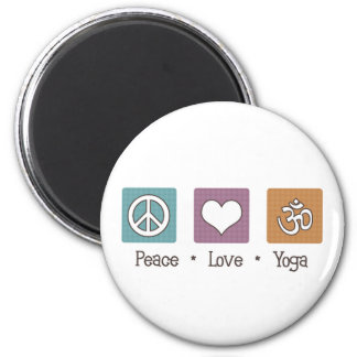Peace Love Yoga 2 Inch Round Magnet