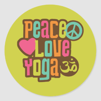Peace Love Yoga Classic Round Sticker