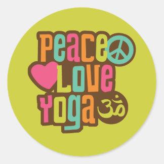 Peace Love Yoga Classic Round Sticker