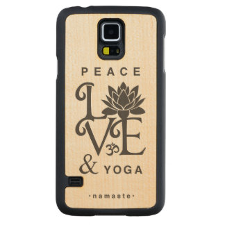 """Peace, Love, & Yoga"" Maple Wood Galaxy S5 Case"