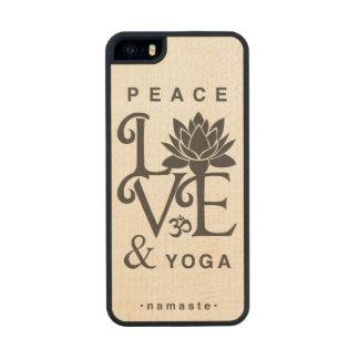 """Peace, Love, & Yoga"" Maple Wood iPhone 5 Case"