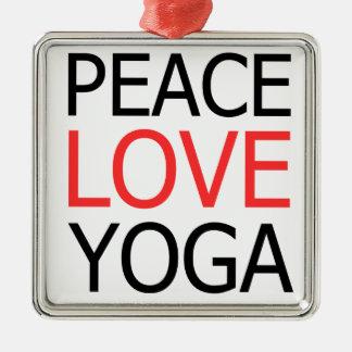 Peace Love & Yoga Metal Ornament