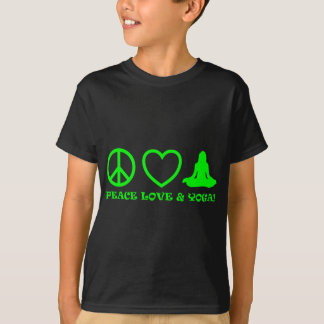PEACE LOVE & YOGA PICTURES GREEN T-Shirt