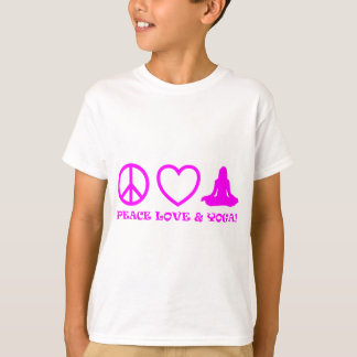 PEACE LOVE & YOGA PICTURES PINK T-Shirt