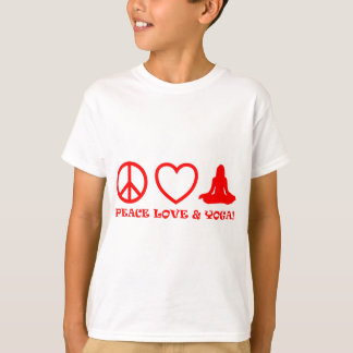 PEACE LOVE & YOGA PICTURES RED T-Shirt