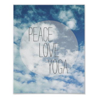peace love yoga poster text on blue sky
