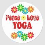 Peace Love Yoga Round Sticker