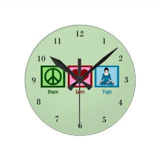 Peace Love Yoga Round Wall Clock