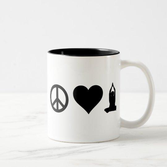 Peace Love Yoga Two-Tone Coffee Mug