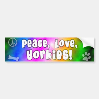 Peace Love Yorkies Bumper Sticker Car Bumper Sticker