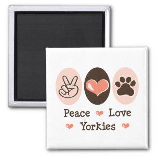Peace Love Yorkies Magnet