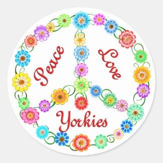 Peace Love Yorkies Round Stickers