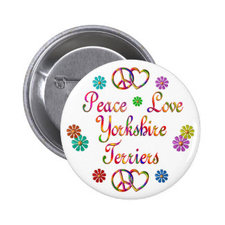 PEACE LOVE YORKSHIRE TERRIERS BUTTONS