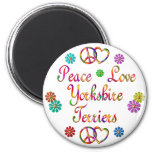 PEACE LOVE YORKSHIRE TERRIERS REFRIGERATOR MAGNETS