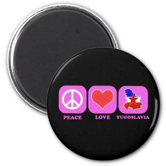 Peace Love Yugoslavia 2 Inch Round Magnet