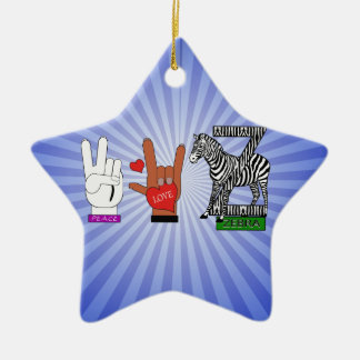 PEACE LOVE ZEBRA Double-Sided STAR CERAMIC CHRISTMAS ORNAMENT