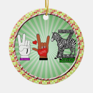 PEACE LOVE ZEBRA Double-Sided CERAMIC ROUND CHRISTMAS ORNAMENT