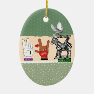 PEACE LOVE ZEBRA Double-Sided OVAL CERAMIC CHRISTMAS ORNAMENT
