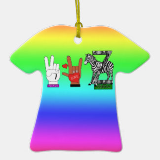 PEACE LOVE ZEBRA Double-Sided T-Shirt CERAMIC CHRISTMAS ORNAMENT