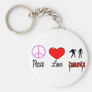 peace love zombies key chains