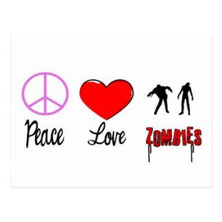 peace love zombies postcard
