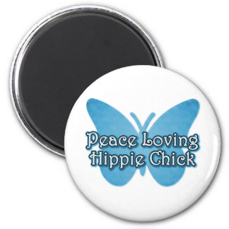Peace Loving Hippie Chick 2 Inch Round Magnet