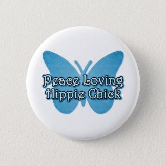 Peace Loving Hippie Chick Pinback Button