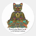 Peace Lucky Black Cat Sticker