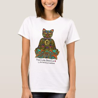 Peace Lucky Black Cat Woman's T-Shirt