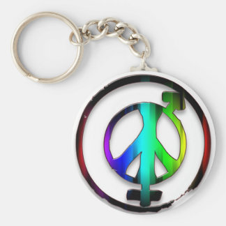 Peace Male and Female Symbols Basic Round Button Keychain