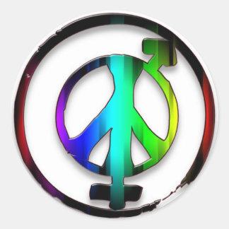 Peace Male and Female Symbols Classic Round Sticker