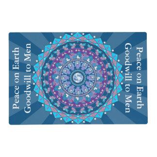 Peace Mandala Christmas Laminated Placemat