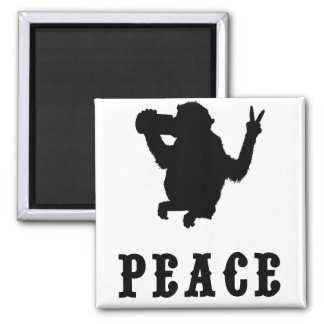 Peace Monkey 2 Inch Square Magnet