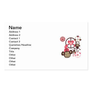 Peace Monkey Business Card Templates