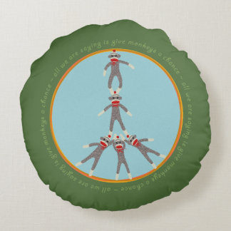 Peace Monkeys Round Pillow