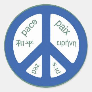 Peace Multilingual Classic Round Sticker