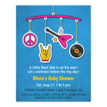 Peace Music Guitar Rock and Roll Baby Shower 4.25x5.5 Paper Invitation Card