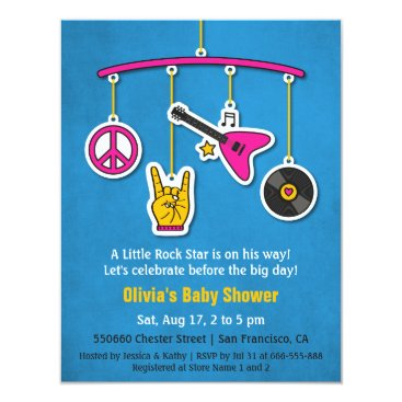 Toddler & Baby themed Peace Music Guitar Rock and Roll Baby Shower Card