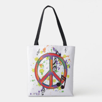 Peace & Music notes Tote Bag