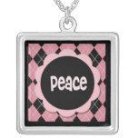 PEACE NECKLACE - VINTAGE PINK ARGYLE