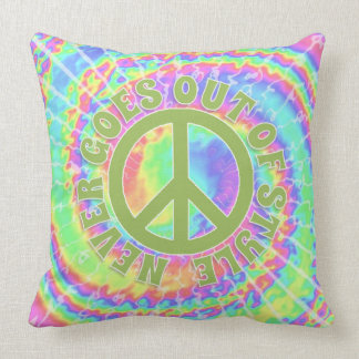 Peace never goes out of style on tie dye throw pillow