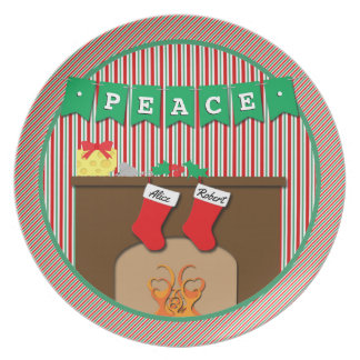 Peace • Night Before Christmas • 2 Stockings Melamine Plate