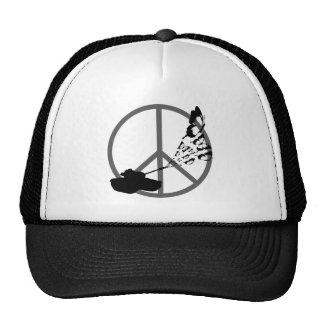 Peace Not War Tank Shooting Butterflies Trucker Hat