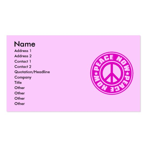 PEACE_NOW BUSINESS CARD TEMPLATE