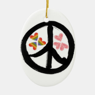 Peace of Hearts Double-Sided Oval Ceramic Christmas Ornament