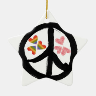 Peace of Hearts Double-Sided Star Ceramic Christmas Ornament