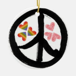Peace of Hearts Double-Sided Ceramic Round Christmas Ornament