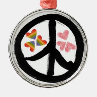 Peace of Hearts Round Metal Christmas Ornament
