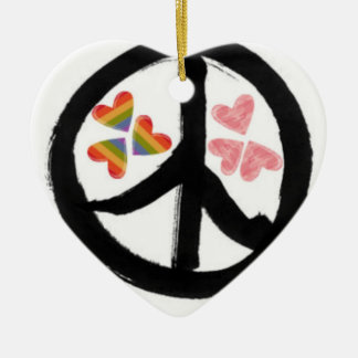Peace of Hearts Double-Sided Heart Ceramic Christmas Ornament